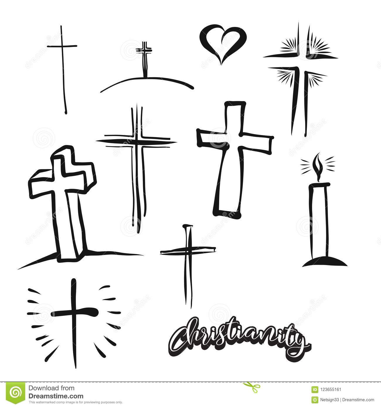 Set Of Hand Drawn Christianity Symbol Stock Vector