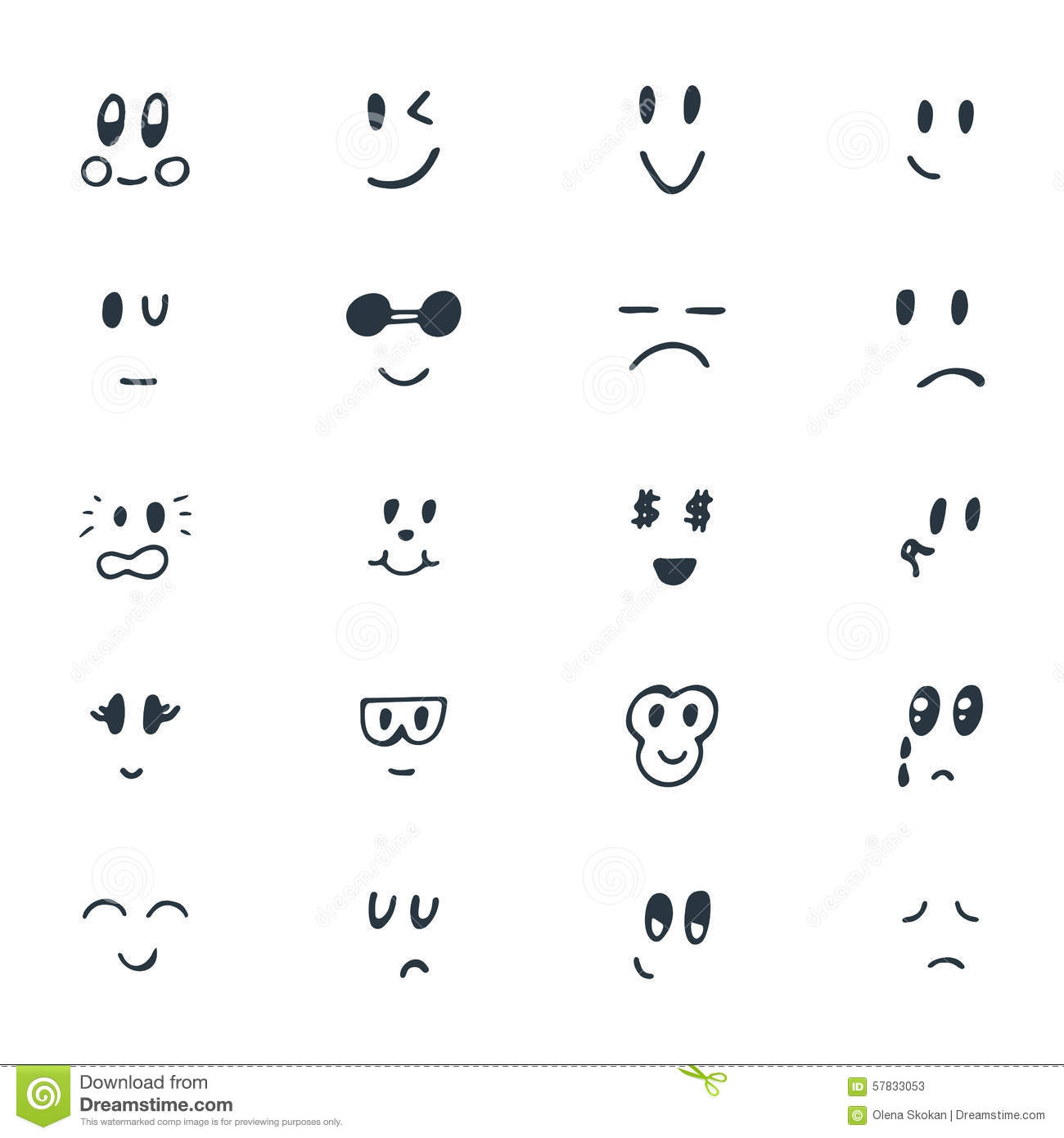 Set Of Hand Drawn Funny Smiley Faces Sketched Facial