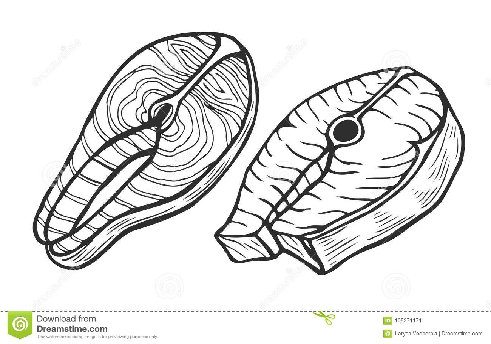 Atlantic Salmon Cuts Diagram Vector Illustration