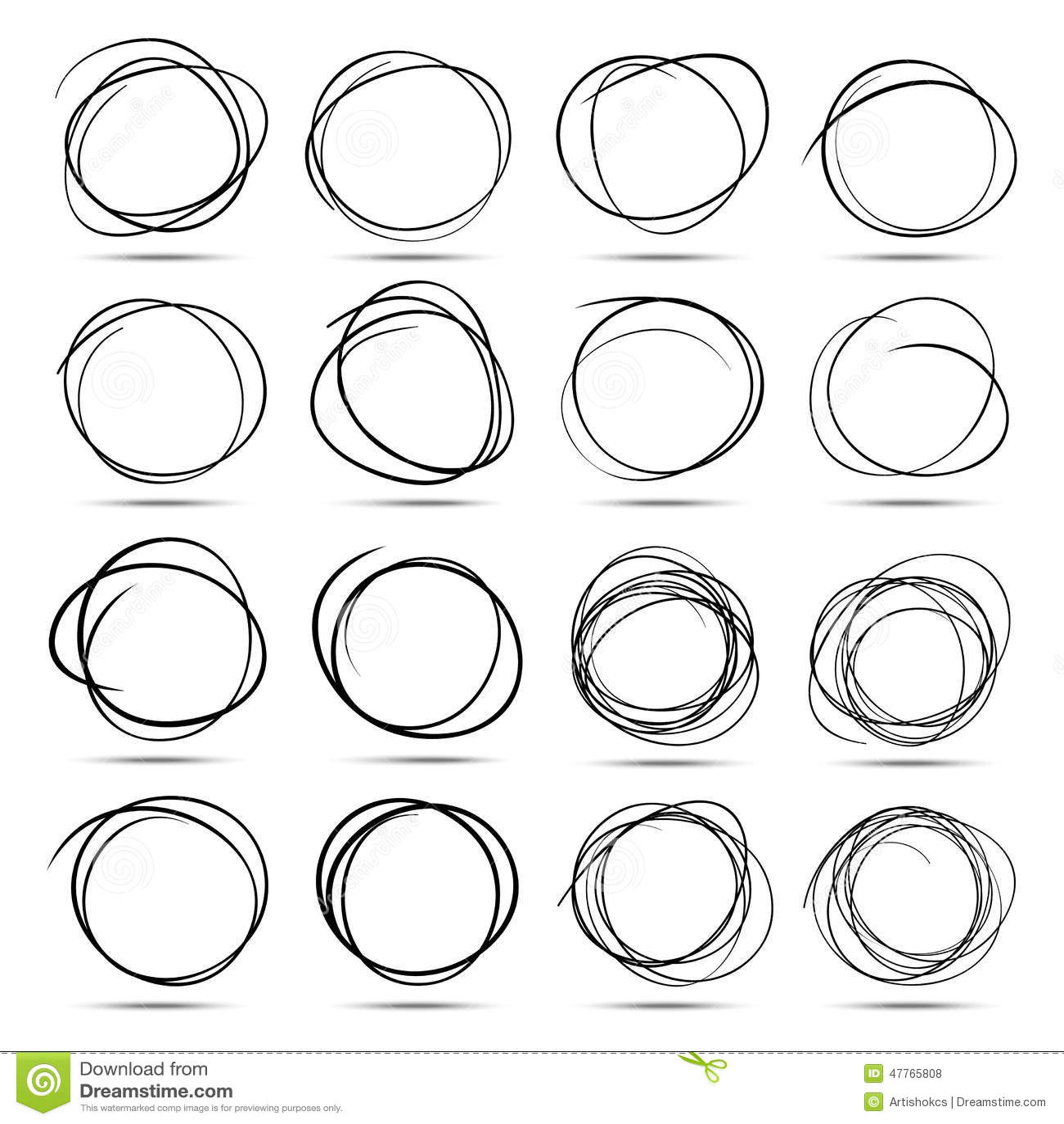 Set Of 16 Hand Drawn Scribble Circles Stock Vector
