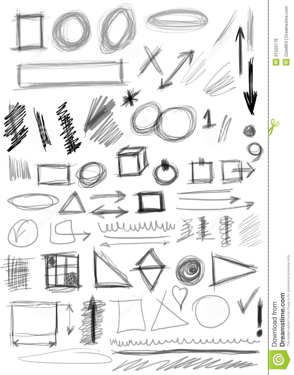 Set Hand Drawn Shapes, Line, Circle Stock Illustration