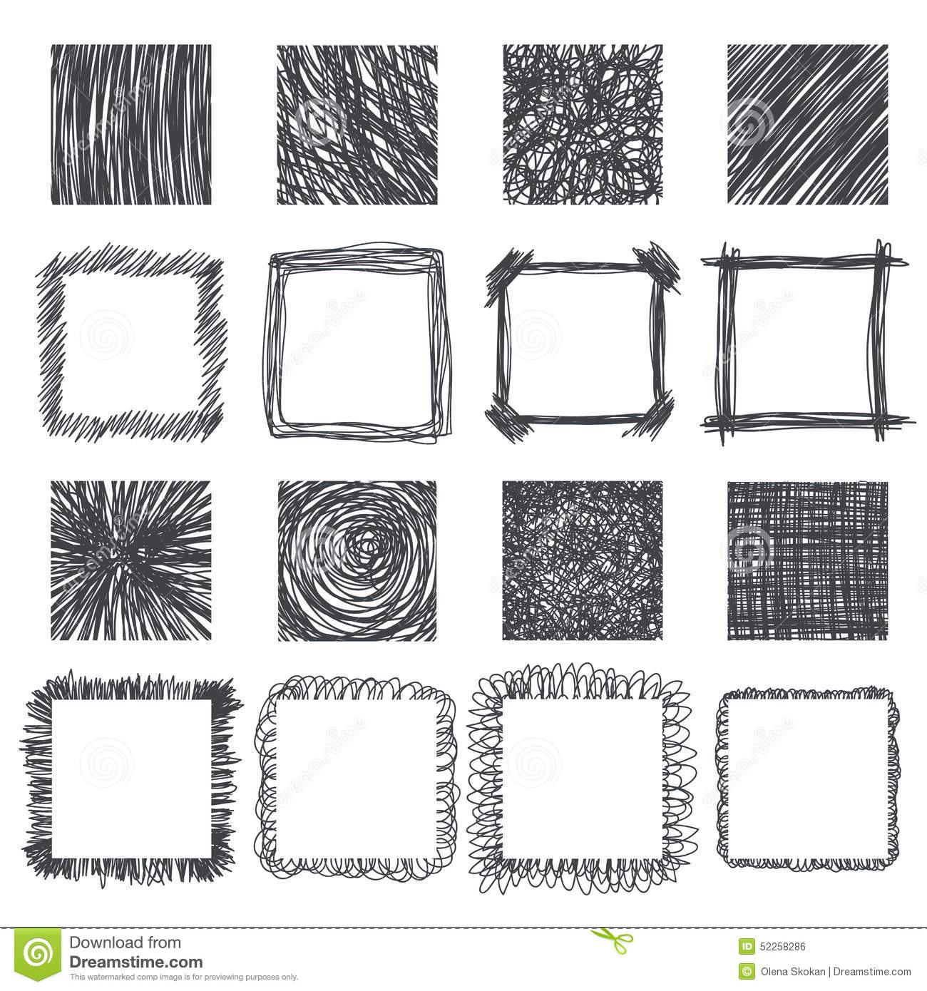 Set Of Hand Drawn Squares Vector Design Elements Lines