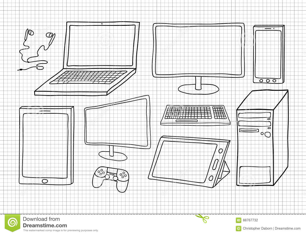 Electronic Devices And Gadgets Vector Drawing Stock Vector