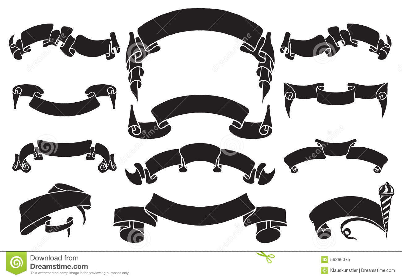 Set Of Hand Drawn Vintage Black Ribbons Royalty Free