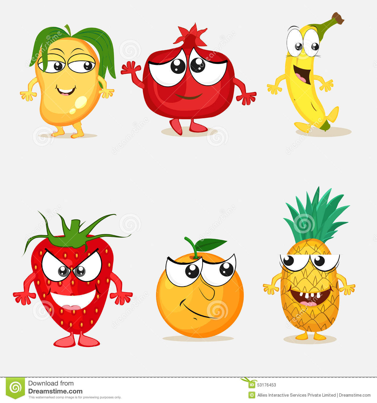 Set Of Happy Fruit Cartoon Characters Stock Illustration