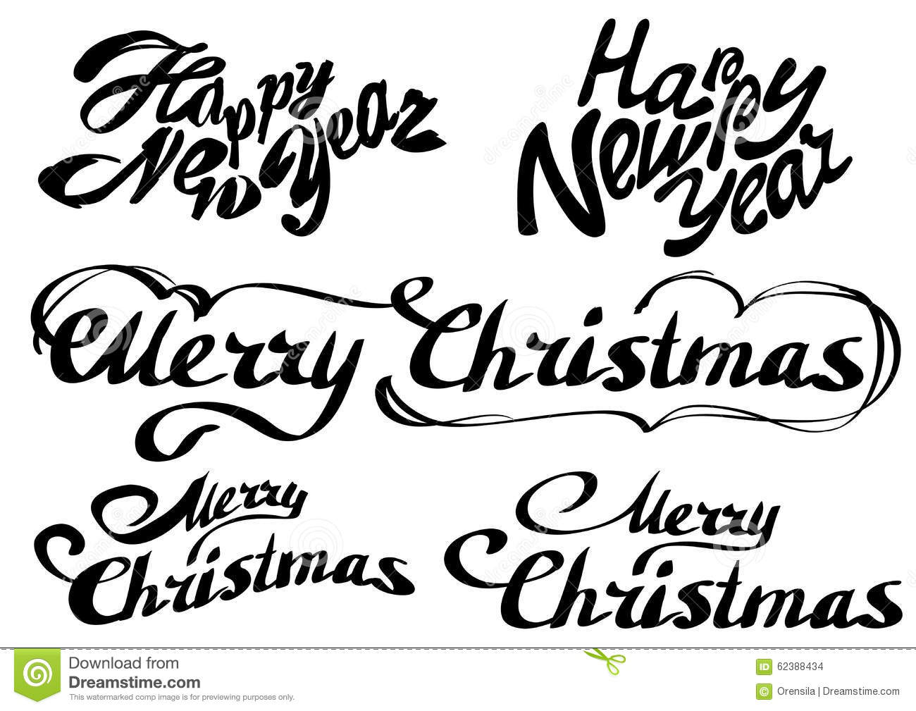 Set Happy New Year Text Merry Christmas Stock Vector