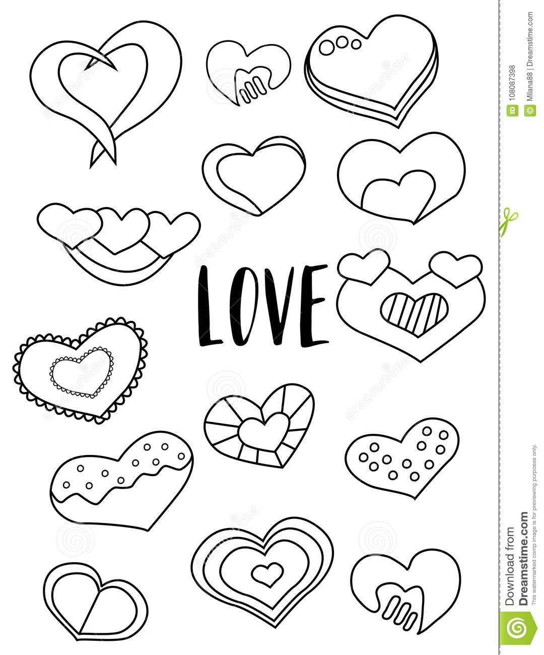 Set Of Hearts Black And White Stickers. Valentine`s Day