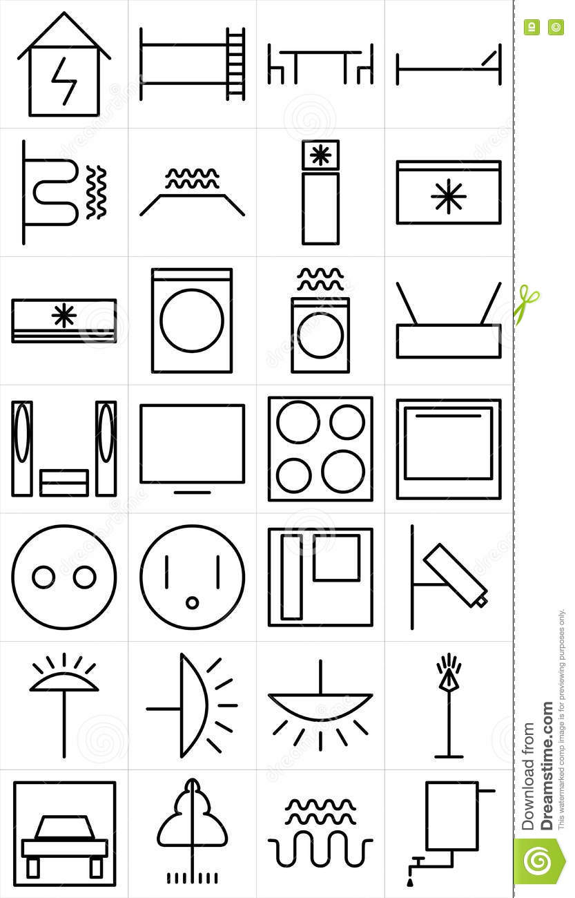 Set Of Home Electrical Devices Pictogram Stock Vector