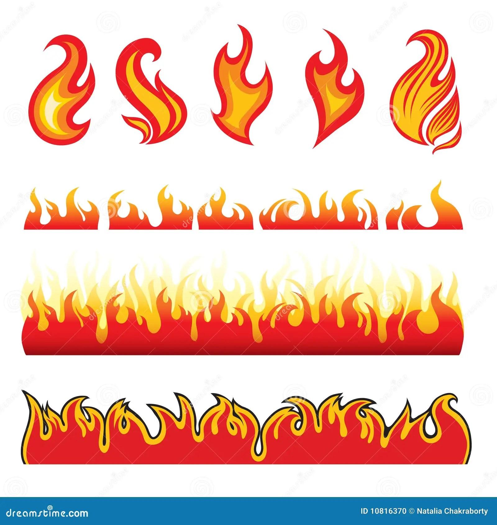 Set Of Hot Fire Design Elements Stock Vector