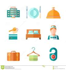 Set Of Hotel Icons Stock Vector. Illustration Network