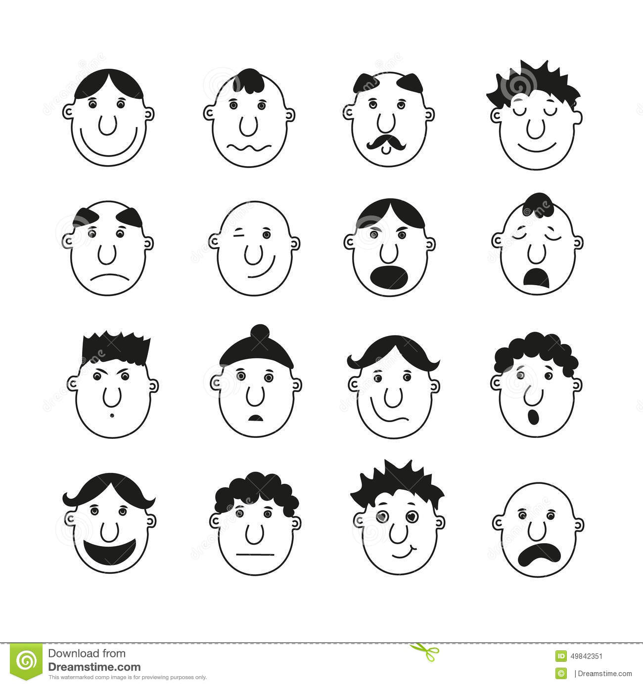 A Set Of Human Faces With Emotions Stock Vector