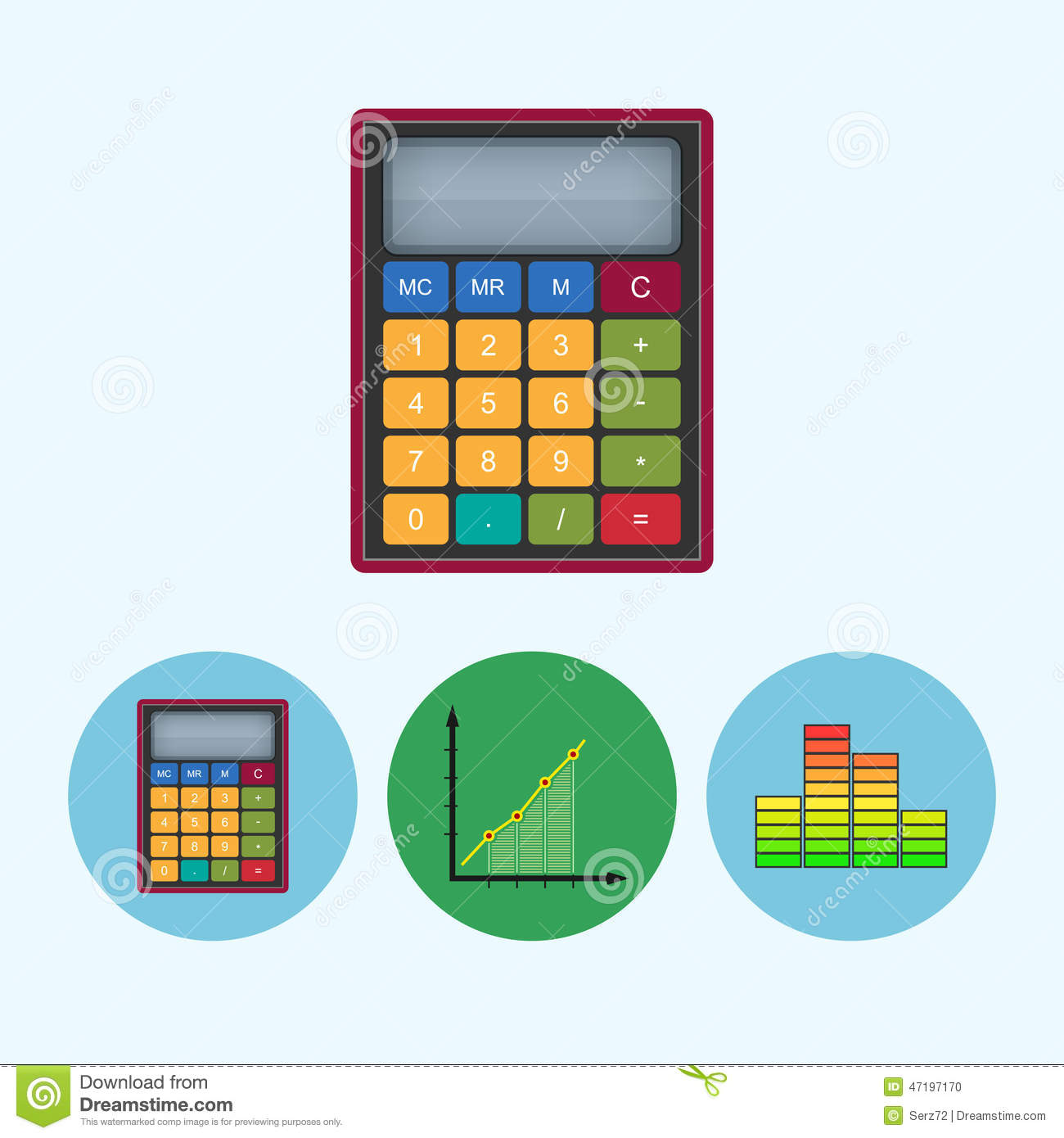 Set Icons With Calculator Indicator Diagram Infographics Chart Vector Illustration Stock