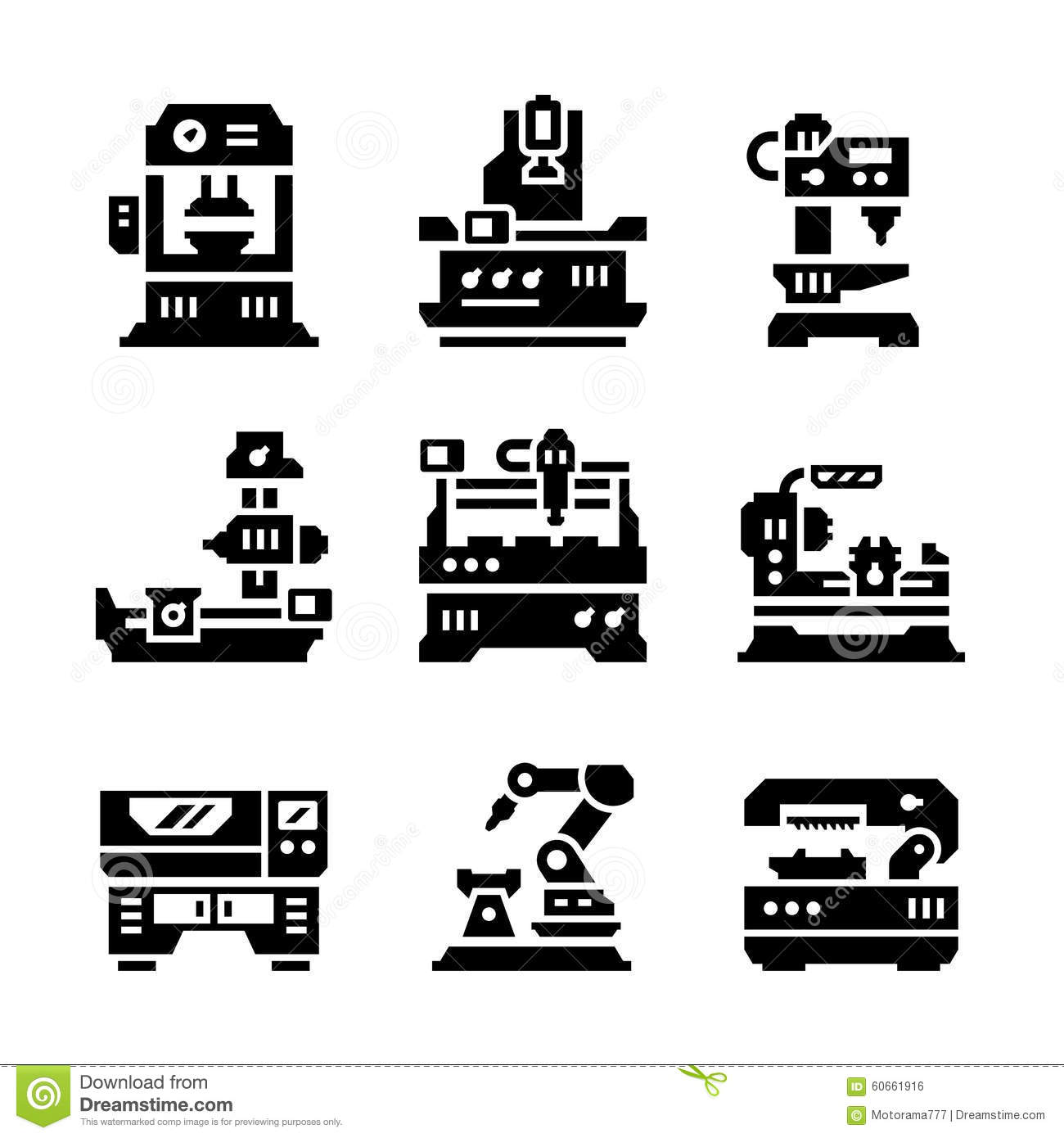Set Icons Of Machine Tool Stock Vector Illustration Of