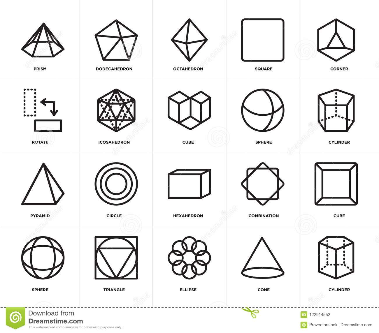 Set Of Pyramid, Cylinder, Cone, Triangle, Cube, Hexahedron