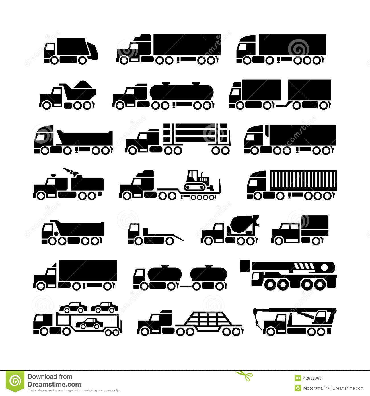 Set Icons Of Trucks Trailers And Vehicles Stock Vector
