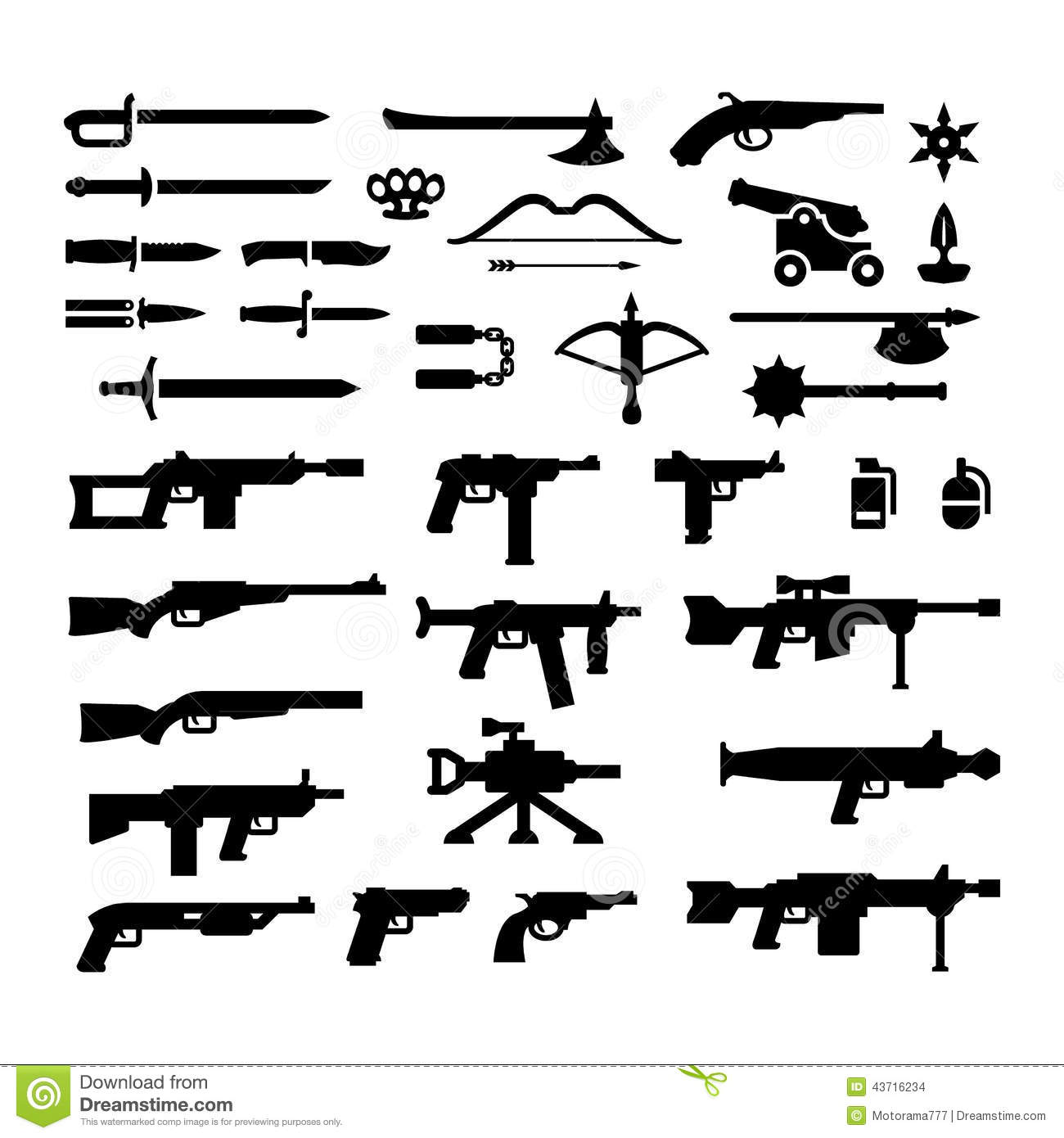 Set Icons Of Weapons Stock Vector Illustration Of Pistol