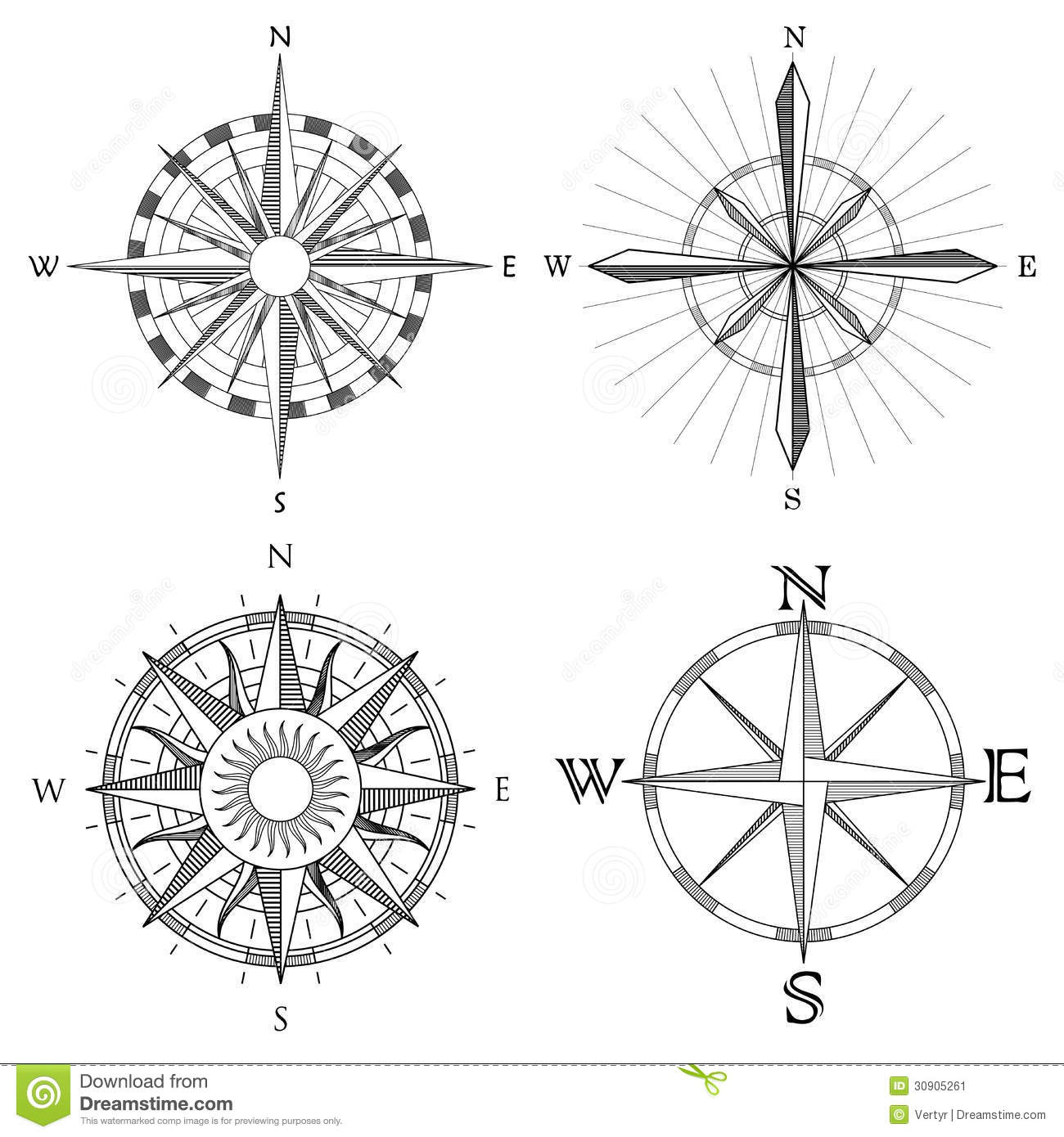Set Illustration Of Artistic Compass Stock Vector