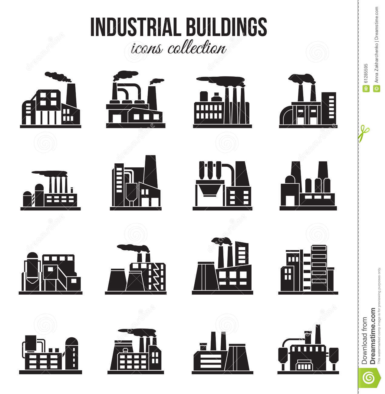 Set Of Industrial Manufactory Buildings Icons Set Stock