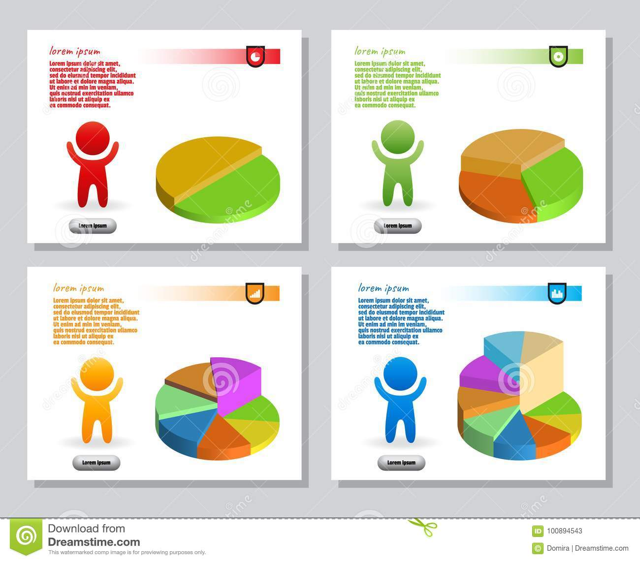 hight resolution of set of infographics from stylized figure of man and of bulk isometric pie charts for