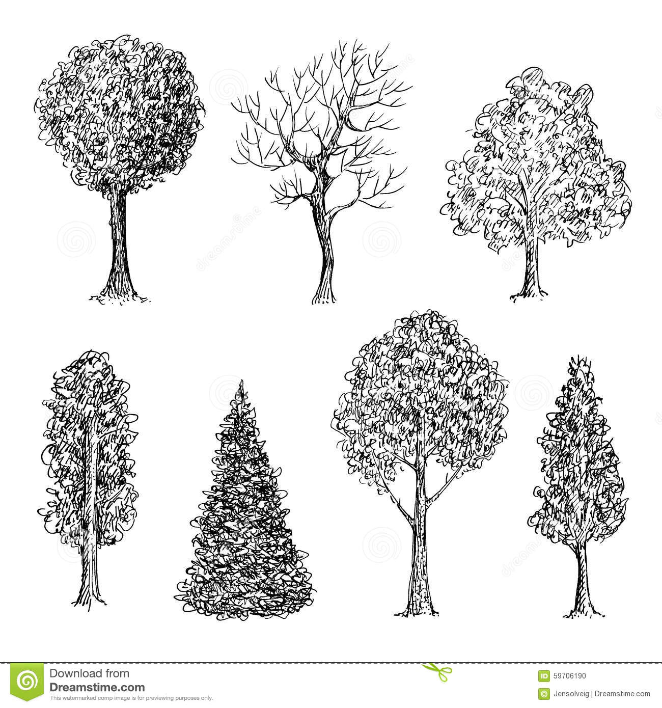 Set Of Ink Hand Drawn Black And White Trees Stock Vector