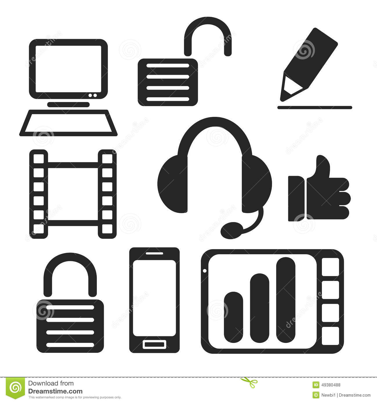 Set Of Interface Web And Mobile Icons. Vector. Stock