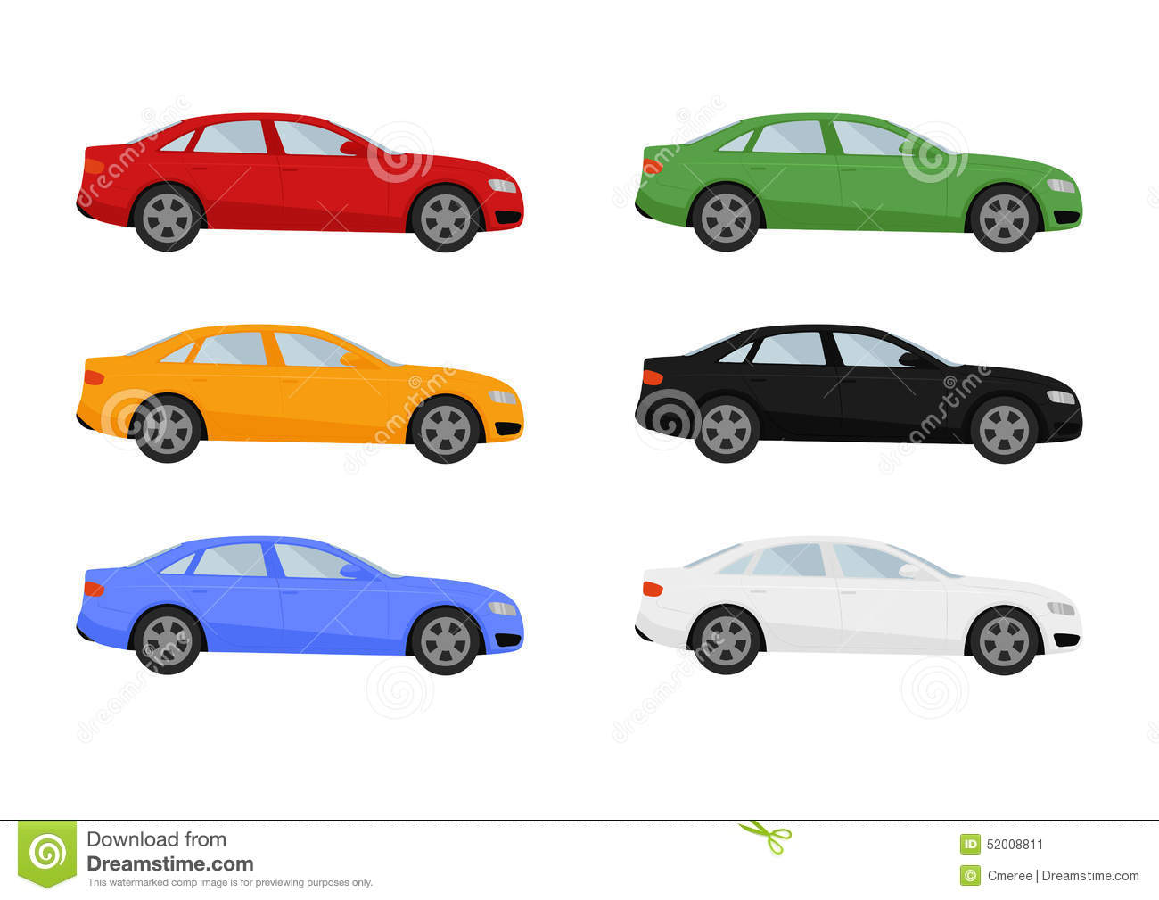 Set Of Isolated Cars Of Different Colors Stock Vector