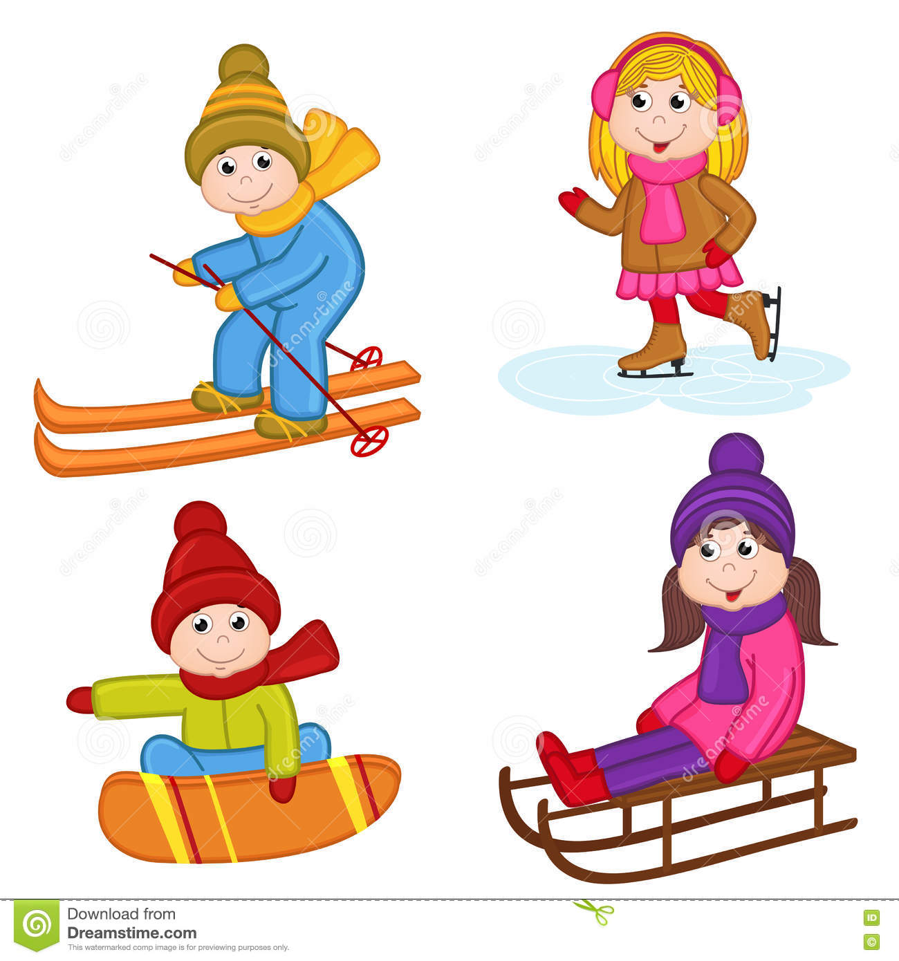 Set Of Isolated Children Winter Sports Stock Vector