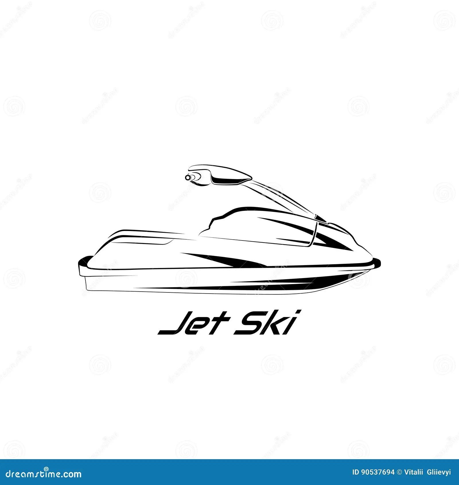 Set jet ski, scooter stock vector. Illustration of rider