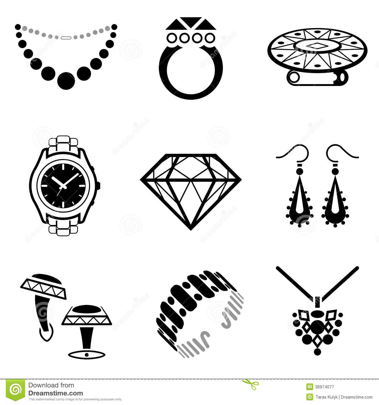 Set Of Jewelry Icons Stock Vector Illustration Of