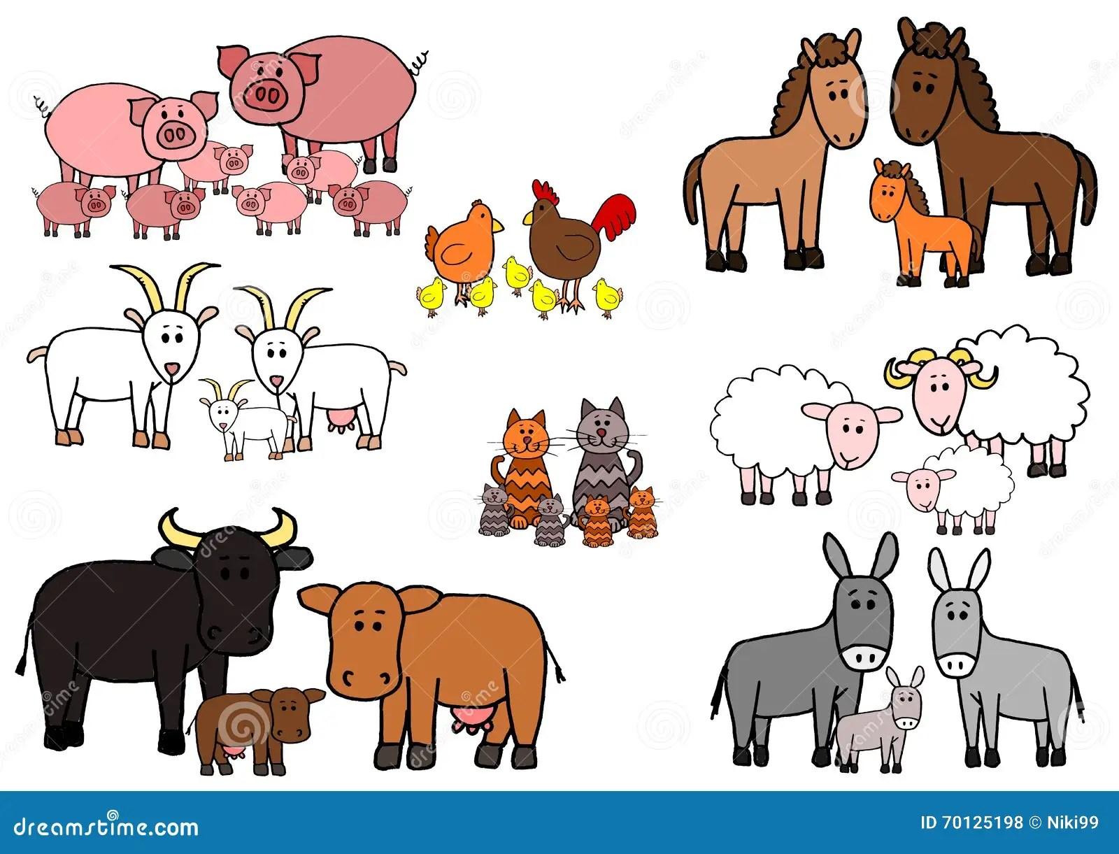Set Of Kid Sketch Farm Animals Cartoon Stock Vector