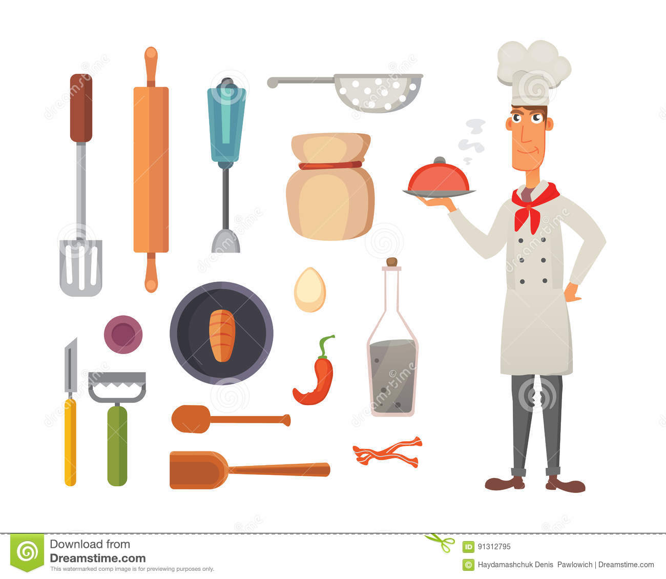 Set Kitchen Shelves And Cooking Utensils Vector Chef