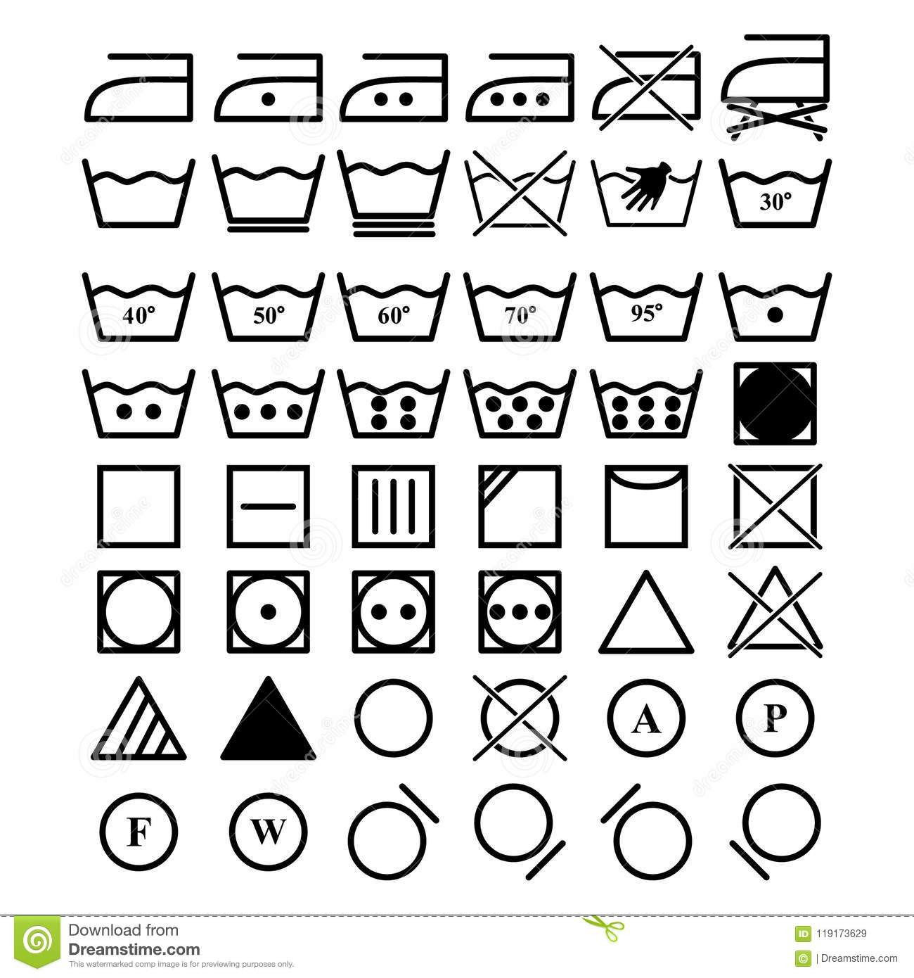 Laundry Symbols Collection Vector Illustration