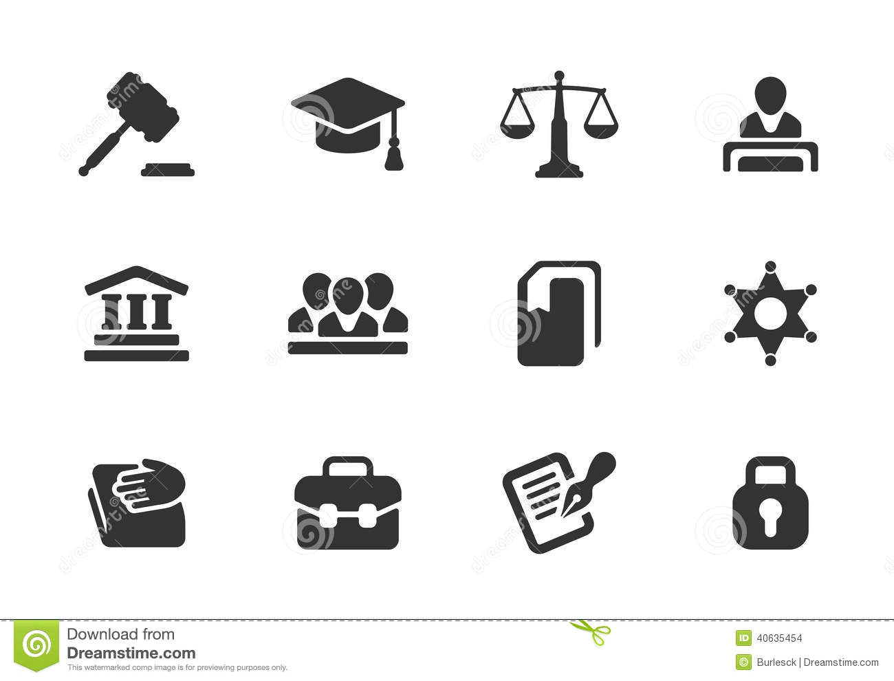 Set Of Law And Justice Icons Stock Vector