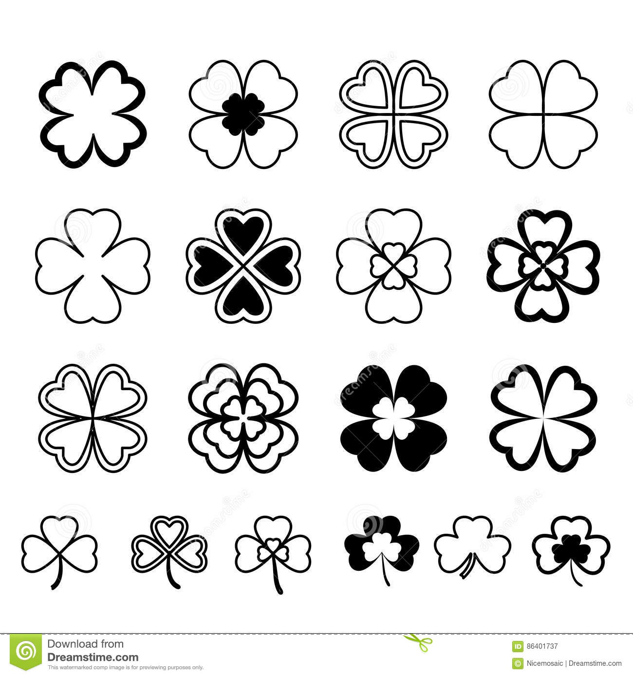 Three Leaf Clover Vector Cartoon Vector