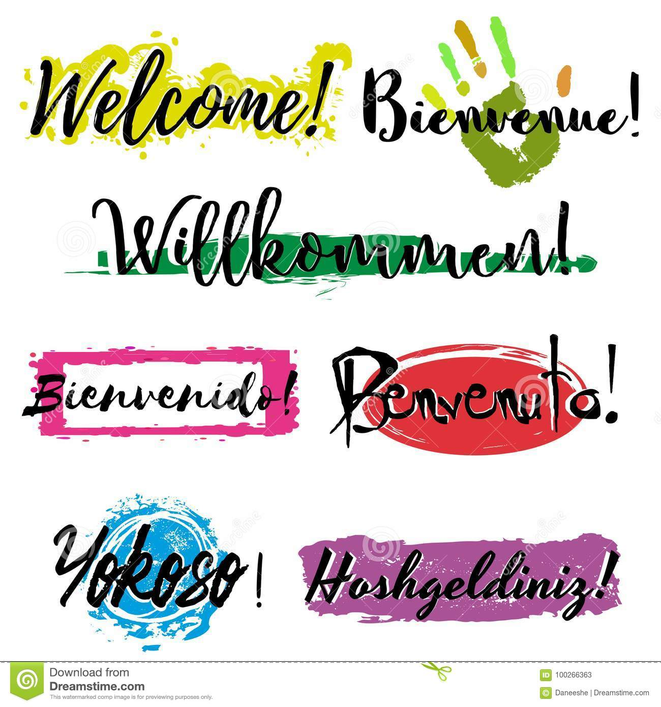 Set with lettering Welcome stock vector. Illustration of design - 100266363