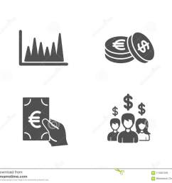 line graph finance and savings icons salary employees sign market diagram eur [ 1300 x 1141 Pixel ]