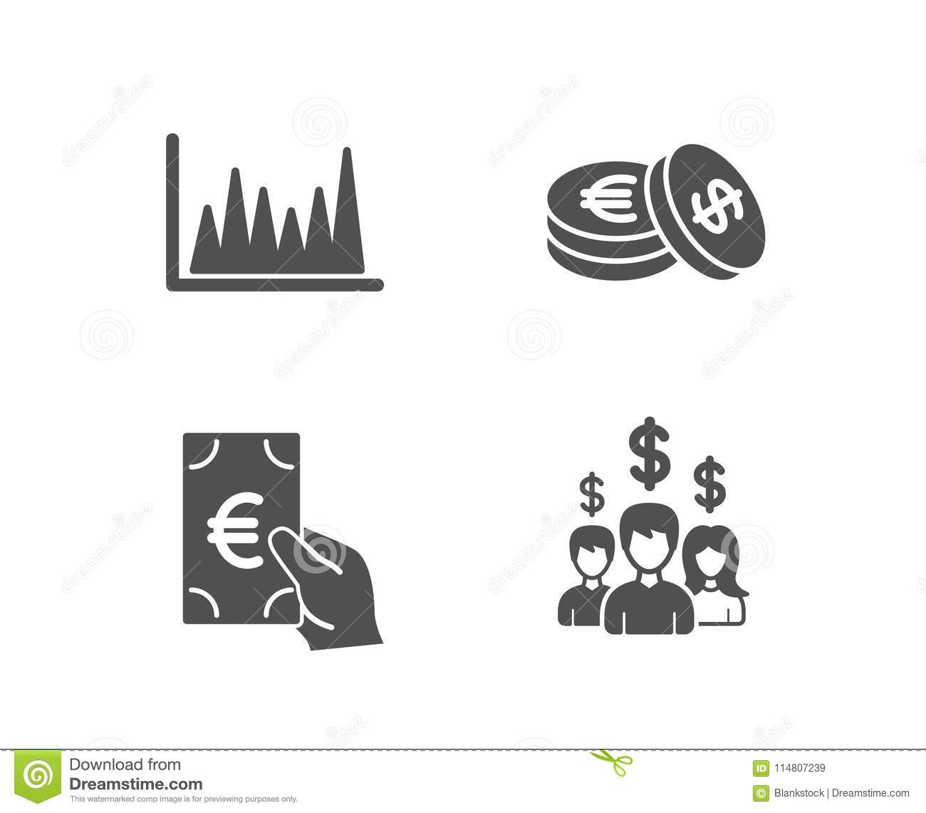 hight resolution of line graph finance and savings icons salary employees sign market diagram eur