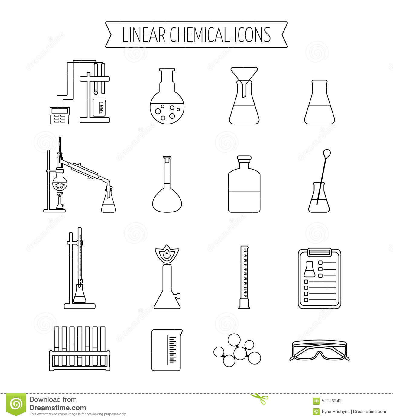 Set Of Linear Chemical Icons Flat Design Isolated