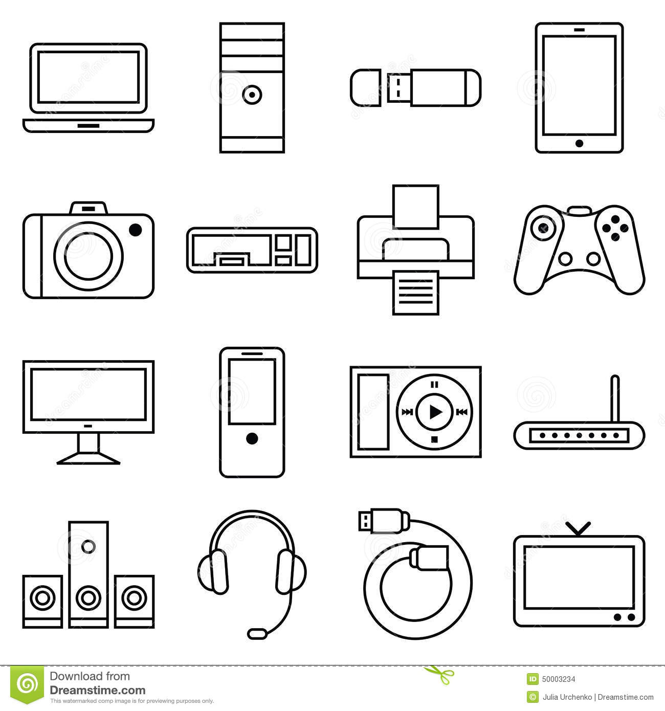 Set Of Linear Icons Computer And Other Equipment Stock