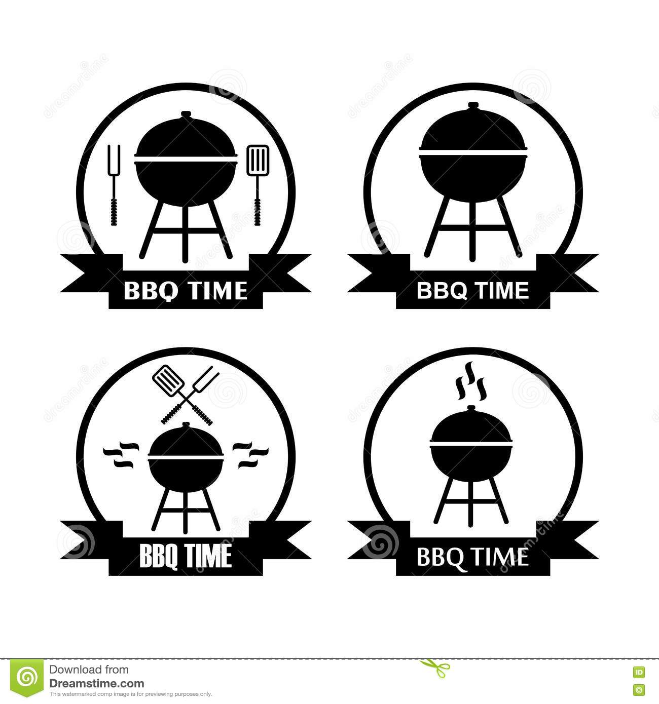 Set Of Logo Bbq Time With Grill Pan Stock Vector