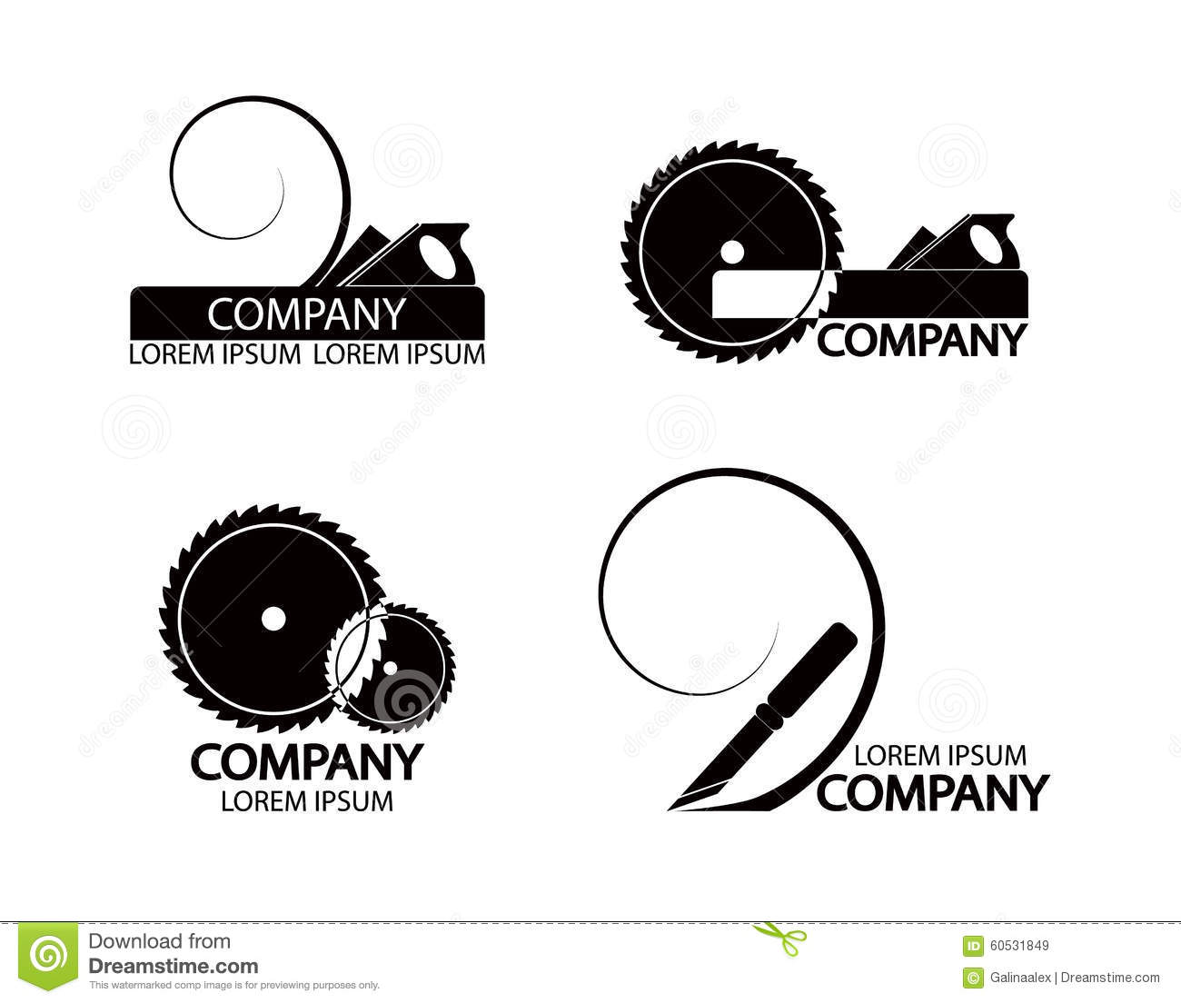A Set Of Logos Emblems Of Joiner S Tools Stock Vector