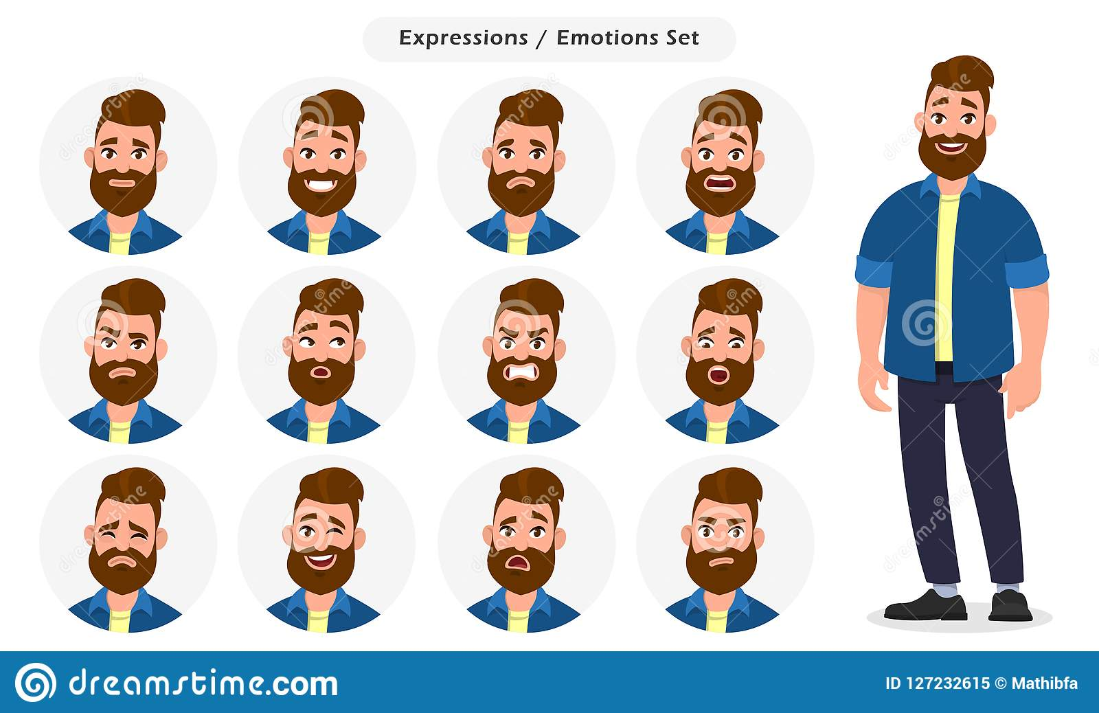 Emoji For Different Expression And Feeling Cartoon Vector