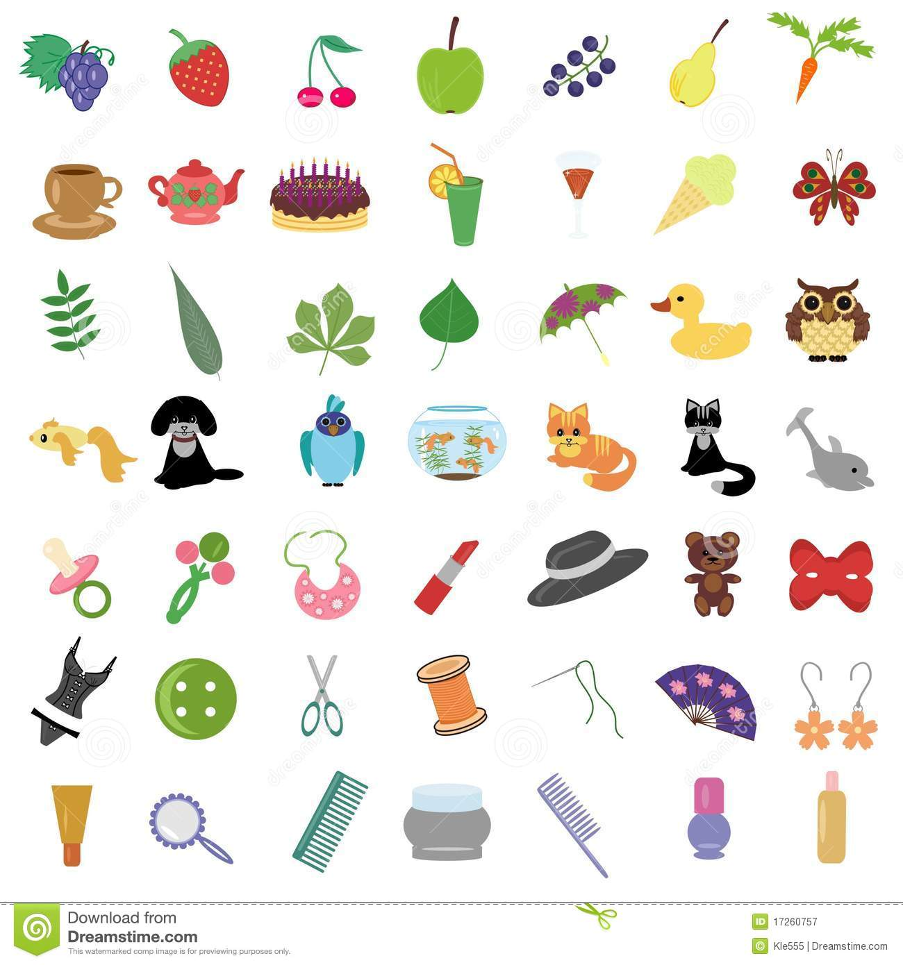 Set With Many Different Objects Royalty Free Stock