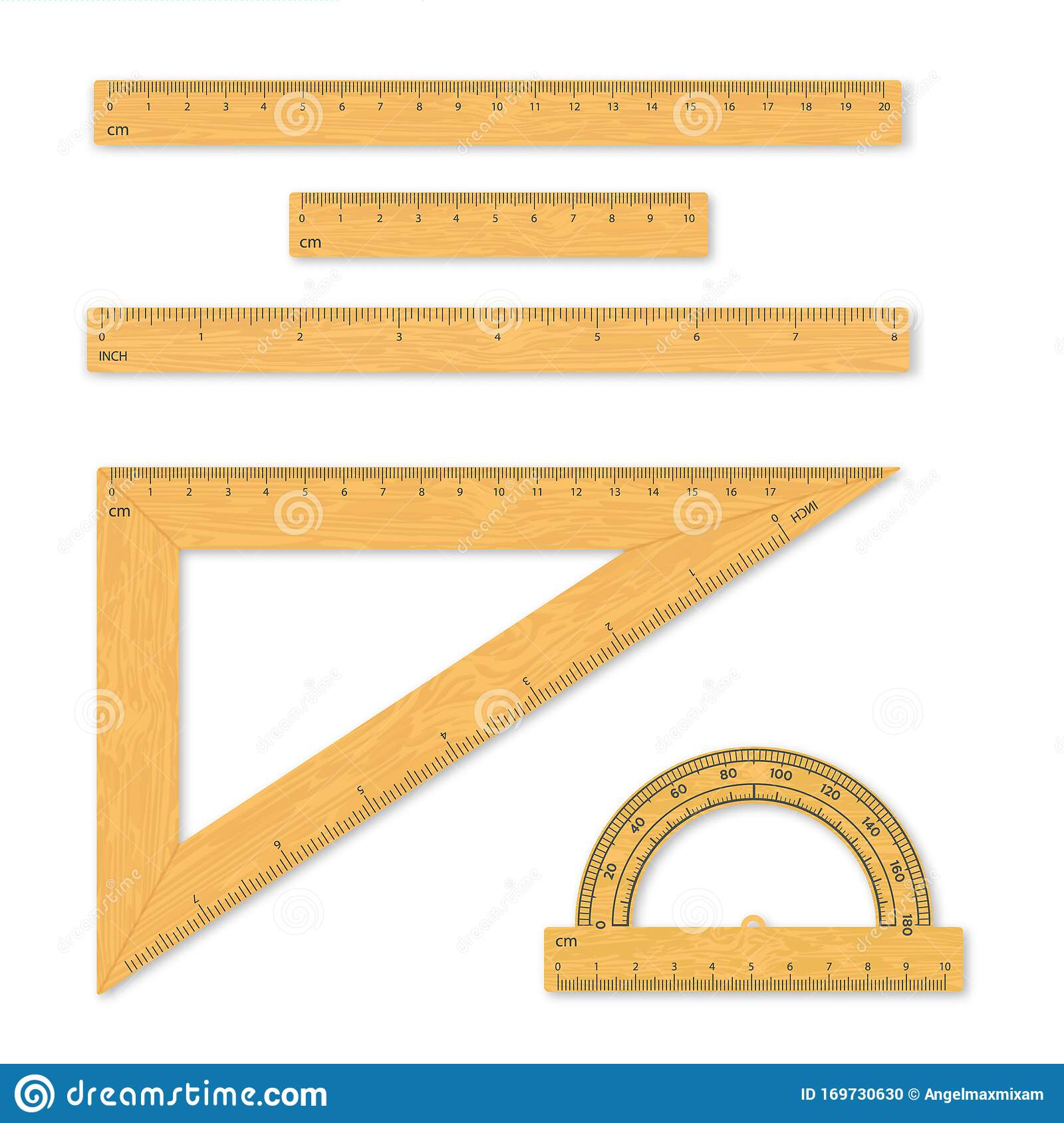 Set Of Measuring Tools Rulers Triangles Protractor