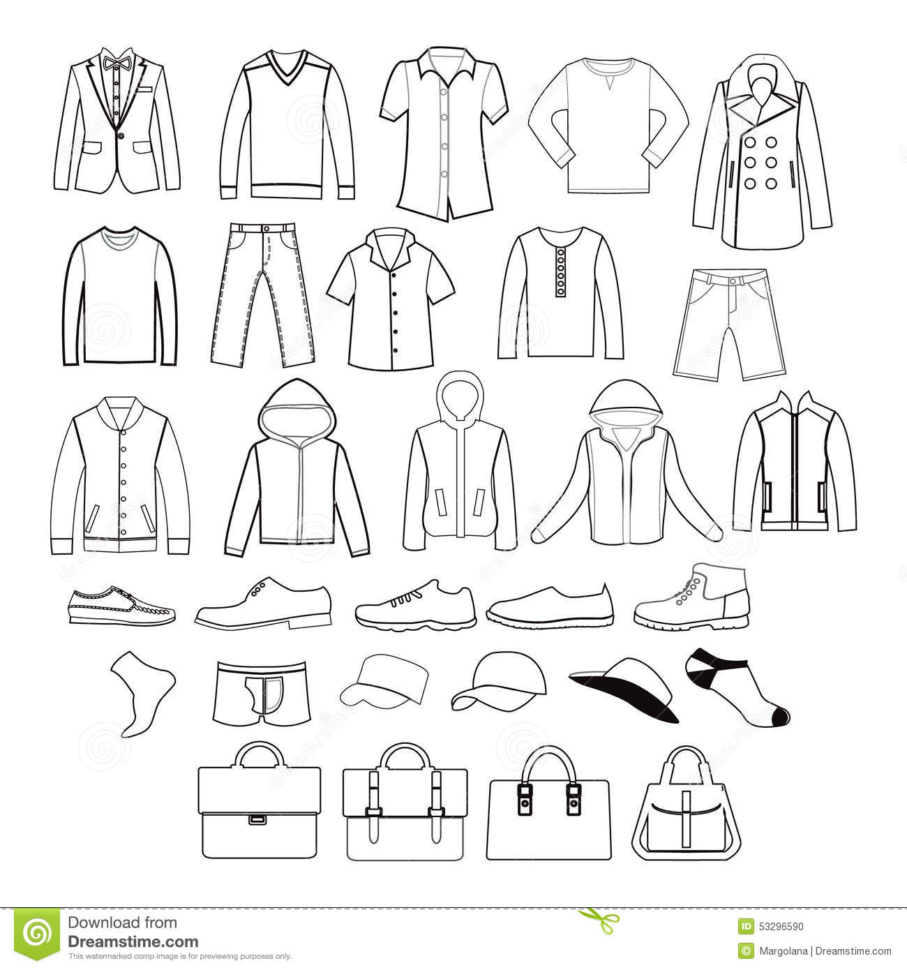 Set Of Men Clothing Garments And Accessories Icons Stock