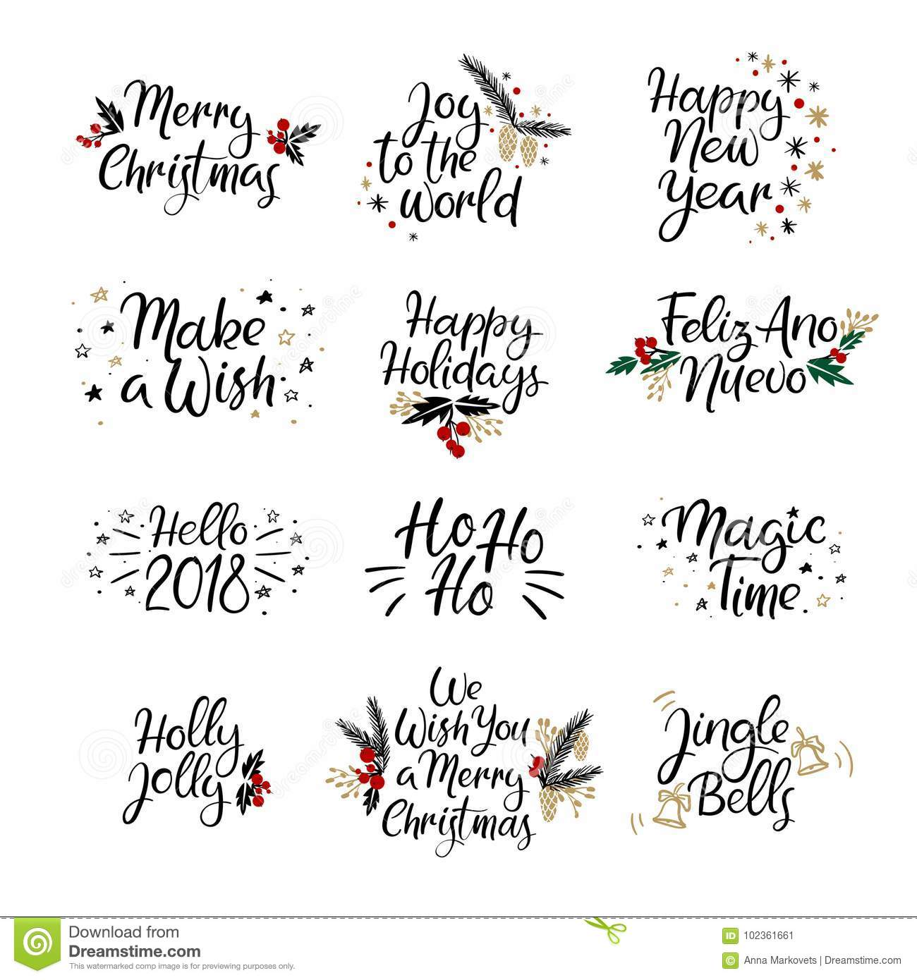 Set Of Merry Christmas And Happy New Year Cards Modern
