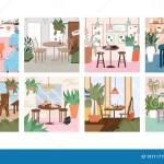 Set Of Modern And Cozy Cafe Or Restaurant Interiors Design Vector Flat Illustration Of Modern Cafe Interiors Stock Vector Illustration Of Room Coffee 197117198