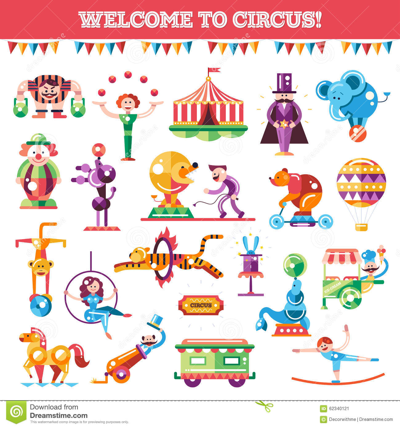 Set Of Modern Flat Design Circus And Carnival Stock Vector