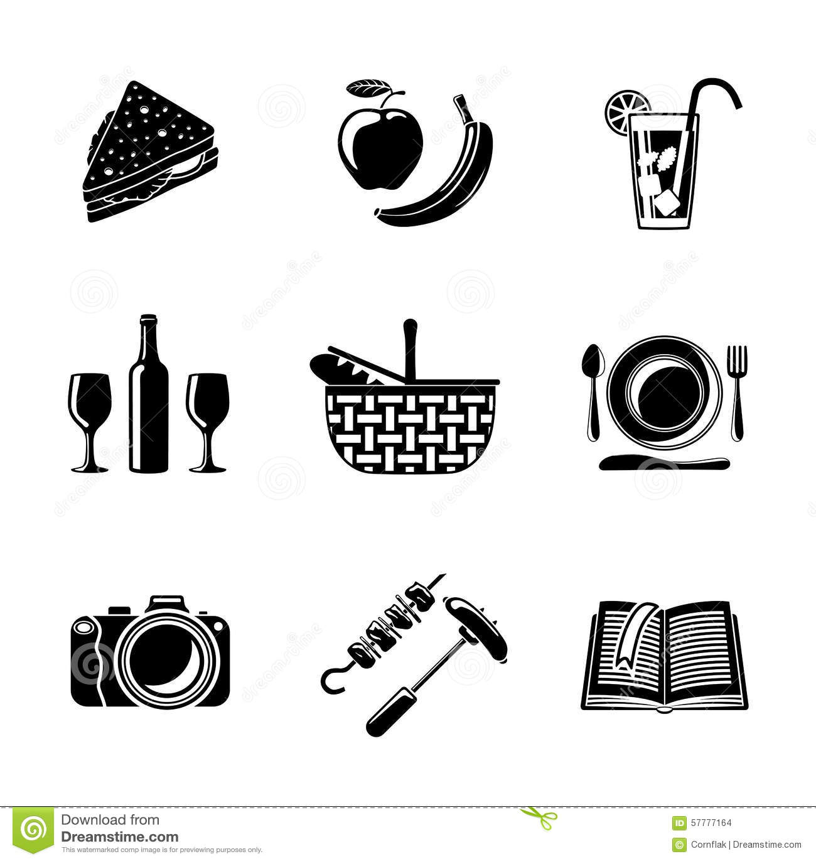 Monochrome Barbecue Emblems Set Cartoon Vector