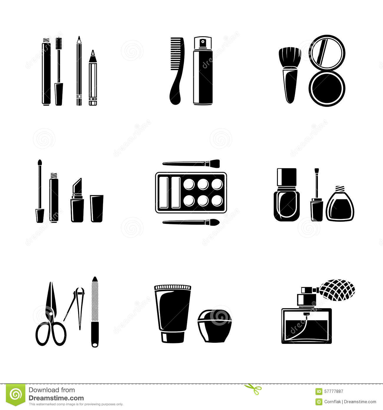 Set Of Monocrome Makeup Icons